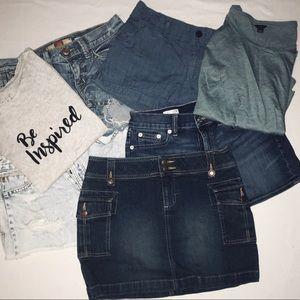 Bundle of denim shorts, skirt & tops 👖👚